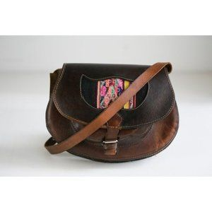 Vintage Dark Brown Leather Handmade Oval Bag